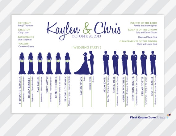 PRINTABLE Unique Wedding Program The Kaylen