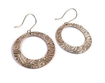 Casual earrings -Silver tribal earrings - silver loop earrings - Textured silver earrings - sterling silver earrings dangle