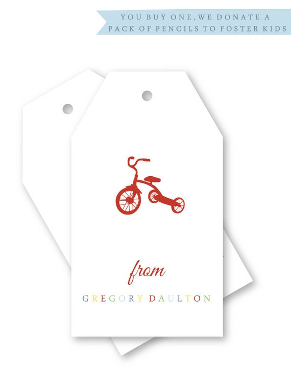 Personalized Gift Tags / Name Tags, Set of 12, Tricycle