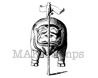 Animal rubber stamp / Hippo listening to bird / Unmounted rubber stamp (131017)