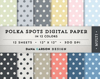 Polka Dots/Spots Digital Paper Set, Instant Download, 12 sheets, printable, scrapbooking, digital collage, clip art ClipArt, grey blue pink