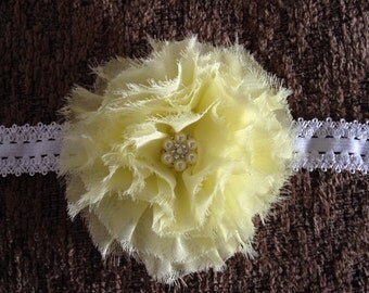 Yellow shabby flower puff , spring baby headband, Easter headband, summer baby, summer headband, newborn headband, photo prop headband,