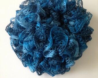 Beautifully hand knitted Sashay Scarf - Metallic Aquamarine