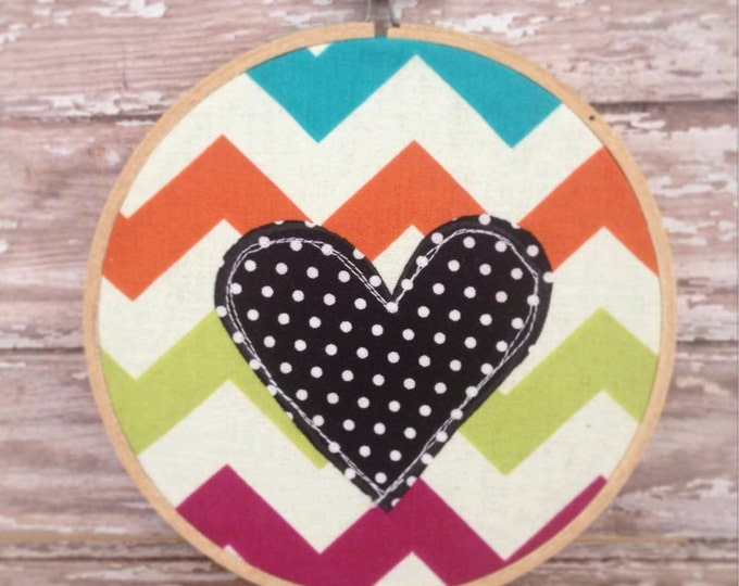 "4"" Hoop Art - Chevron and Polka Dot Heart"