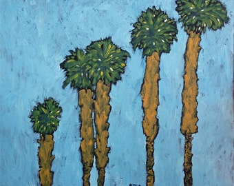 "Kara Asilanis Original Acrylic on Canvas ""A Matter of Time and Palms"""