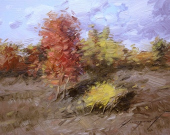 Fall Original oil painting Handmade artwork Oil on Canvas Classic art 9 x 12 in Impressionism Autumn Landscape Trees