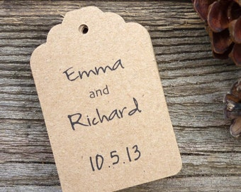 20 Personalized Kraft Paper Tags . Wedding Invite Tags.  Labels . Brown Paper Tags . Gift Tags . Tags