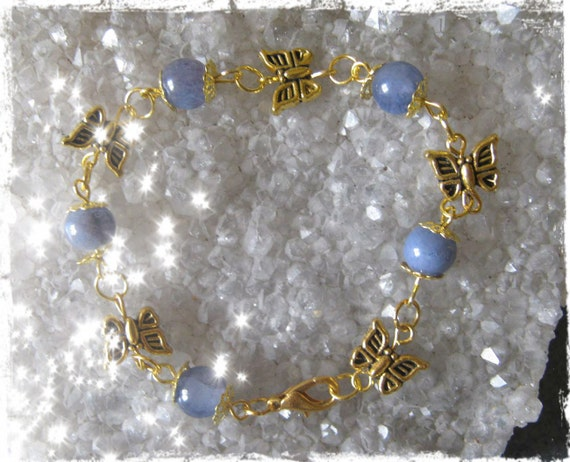 Handmade Gold Bracelet with Lavender Jade & Butterflies by IreneDesign2011