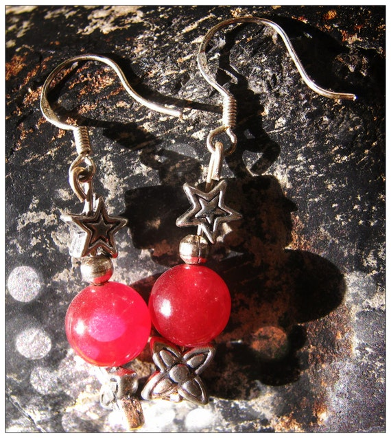 Handmade Silver Earrings with Red Jade, Star & Flower by IreneDesign2011