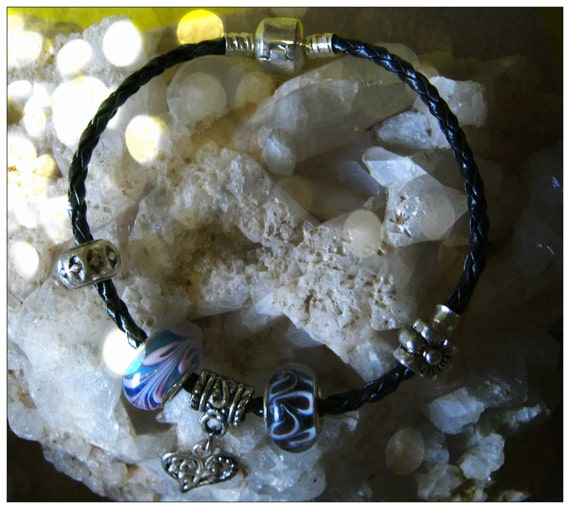Handmade Leather Bracelet with Silver & Glass Beads by IreneDesign2011