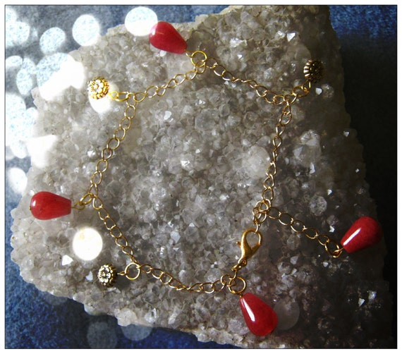 Handmade Gold Anklet with Cherry Quartz Drops & Flowers by IreneDesign2011