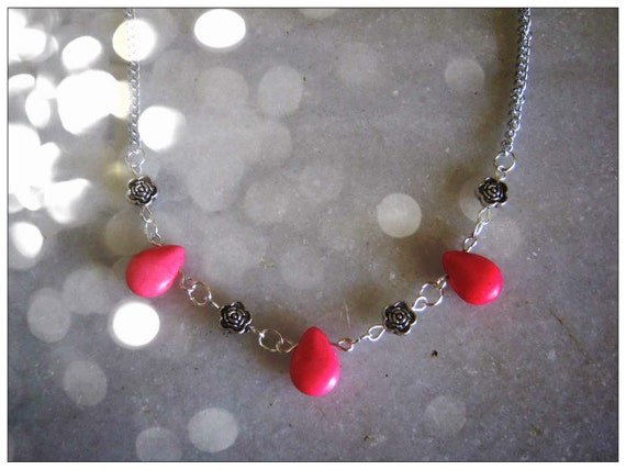 Handmade Silver Necklace with Pink Howlite Drops & Roses by IreneDesign2011
