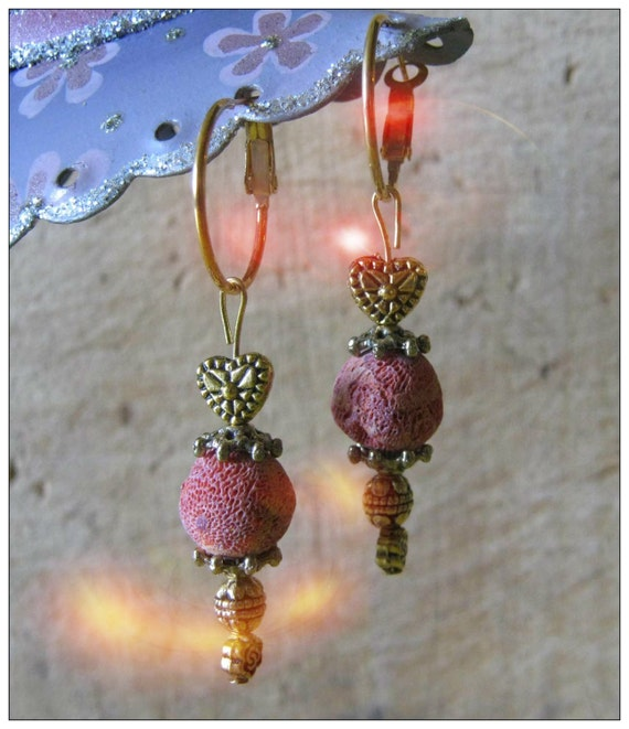 Handmade Gold Hoop Earrings with Red Bubble Coral and Heart by IreneDesign2011