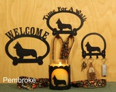 Welsh Corgi  Welcome Sign, Time for A Walk Leash Hook, Key Rack, Candle Holder for Yankee Type Jar Candles