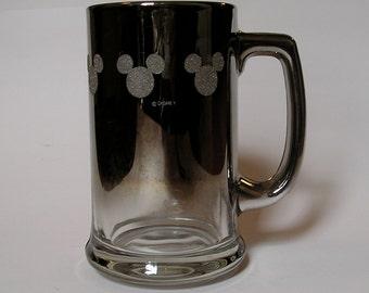 Beautiful Vintage Silver Fade Disney / Mickey Glass Mug Stein Collectible