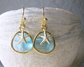 Aqua Starfish Earrings Starfish Earrings Aqua Earrings Aquamarine Jewelry march birthstone Aqua jewelry Bridesmaid Earrings beach wedding