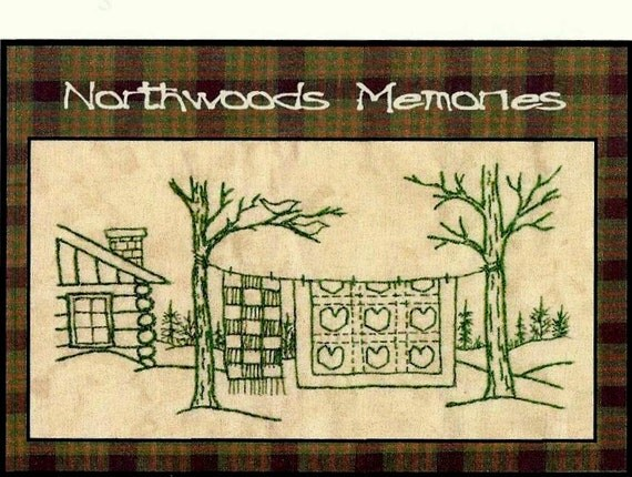 Northwoods Memories Valentine Quilt - Redwork Hand Embroidery Pattern by Beth Ritter - Instant Digital Download