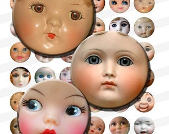 Vintage Doll Faces Creepy Cute Baby Antique Digital Images Collage Sheet 1 inch Circles INSTANT Download BC20