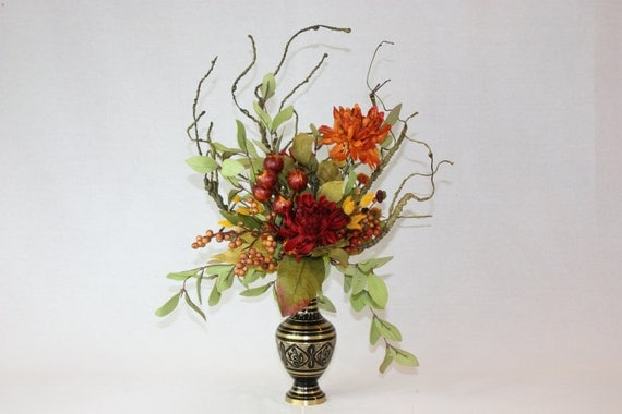 Silk Flower Arrangement Unique Home Decor Artificial Faux Floral In Vintage Brass Vase