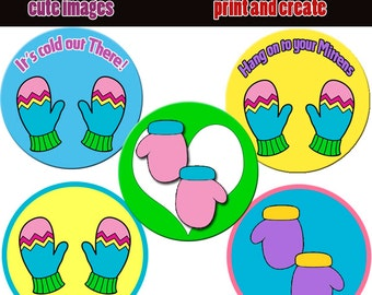 INSTANT DOWNLOAD  Colorful Mittens  4x6 Bottle Cap Images Digital Collage Sheet for bottlecaps