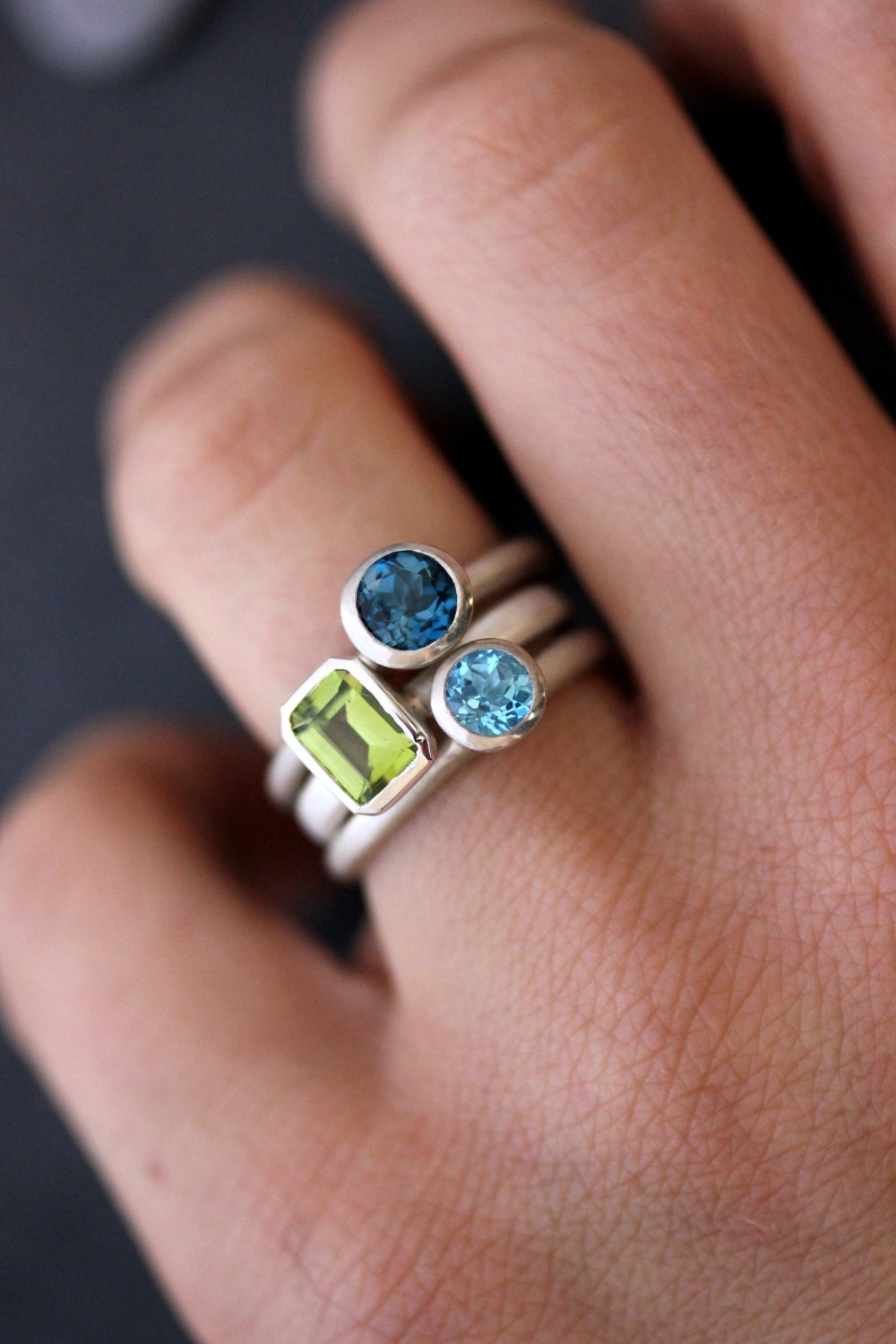Gemstone Stacking Rings In Emerald Cut Peridot Lonson Blue