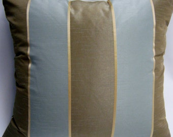 SALE- Brown and Light Blue Stripe Pillow Cover