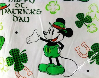 Cotton Fabric - 1.28 Meter Animals - Animal Cartoon Character - Mickey Mouse Fabric - Green Mouse - White  (W140cm)