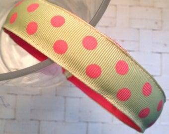 Light Green Grosgrain Ribbon Headband with Bright Pink Polka Dots