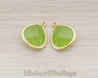 FST001-MG-PE // Matte Gold Plated Framed Peridot Glass Stone Pendant, 2 Pc