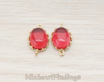 FST051-G-RU // Glossy Gold Plated Oval Short Prong Framed Ruby Stone Connector, 2 Pc