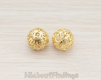 BDS001-MG // Matte Gold Plated Oriental Sphere Ball Matal Bead, 2Pc