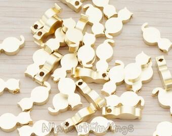 BDS934-MG // Matte Gold Plated Kitty Kitten Cat Metal Bead, 4 Pc