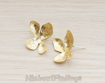 ERG186-MG // Matte Gold Plated Organic Shaped Four Petals Ear Post, 2 Pc