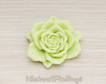 CBC025-LG // Lime Green Colored Huge Rose Flower Flat Back Cabochon, 2 Pc
