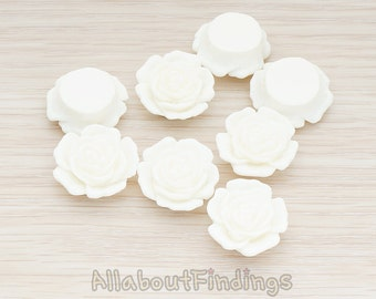 CBC038-WH // White Colored Mary Rose Flower Flat Back Cabochon, 4 Pc