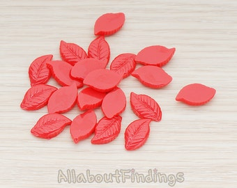 CBC110-RE // Red Colored Textured Leaf Flat Back Cabochon, 10 Pc