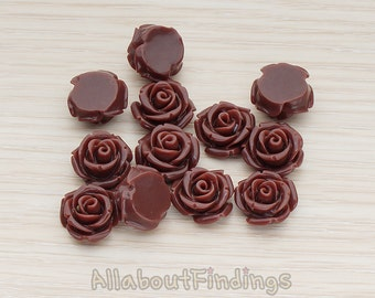 CBC141-01-CH // Chocolate Colored Curved Petal Rose Flower Flat Back Cabochon, 6 Pc