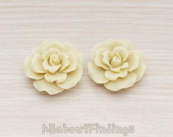 CBC157-LT // LTtte Colored Ruffle Rose Flower FLTt Back Cabochon, 2 Pc