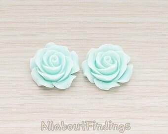 CBC157-06-LB // Light Blue Colored XLarge Angelique Rose Flower Flat Back Cabochon, 2 Pc