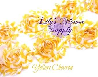 Chevron Shabby Rose Trim - Shabby Flower Trim - Shabby trim - Shabby Flower - Chiffon Trim - Yellow Chevron - Rose Trim - Wholesale Trim