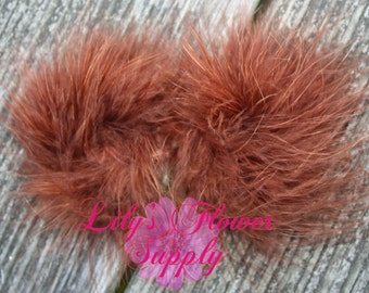 Marabou Feather Puffs - Set of 2 - Brown - Feather Puff
