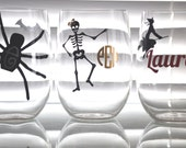 Halloween Personalized Acrylic Stemless Wine Glass - Monogram it or add Your Name - HuffShuffLane
