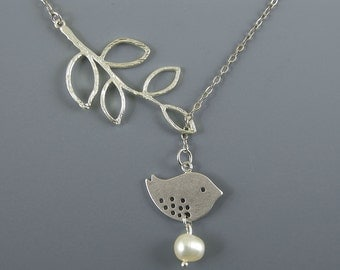 Branch Bird Lariat Necklace Pearl White Gold  Bird Necklace Branch Necklace Bird Charm Pendant