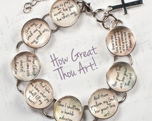 "How Great Thou Art Hymn & Scripture Glass Charm Bracelet, 6.75""-8.75"""