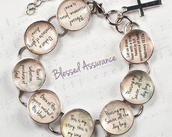 "Blessed Assurance Hymn & Scripture Glass Charm Bracelet, 6.75""-8.75"""