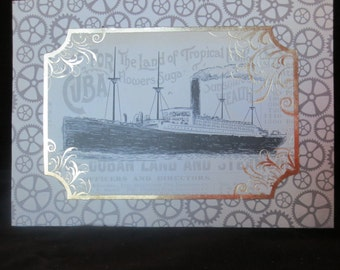 Best wishes -  vintage looking ship card.