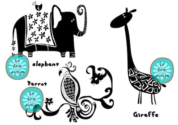 Line Art Jungle Animals : Items similar to clip art vector illustration jungle