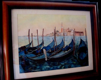 VENICE ITALY Gondolas ORIGINAL Watercolor Italian Painting Unframed Venice Europe European Print Italy Stretched Canvas