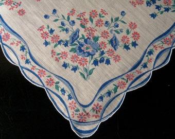 Vintage Hanky, Floral Hanky, Print Handkerchief Blue Flowers, Flower Girl Hanky, Wedding Favor, Wedding Hanky, Something Old, Vintage Linens