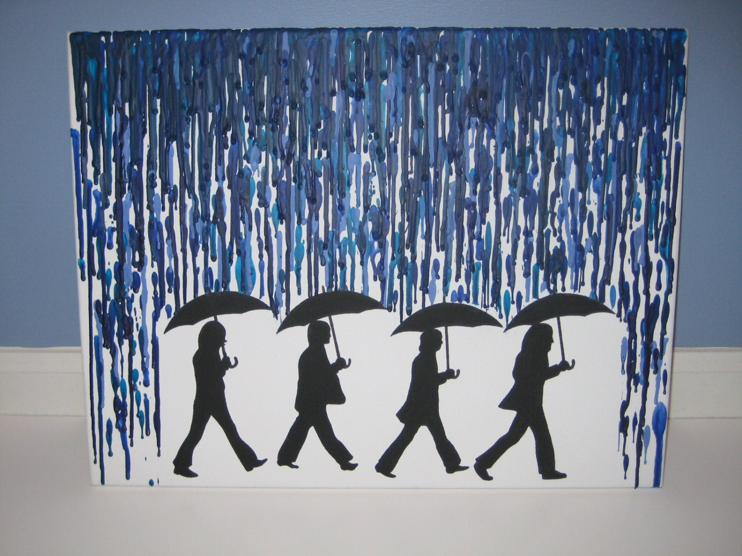 color crayon art : The Beatles Rain Melted Crayon Artwork